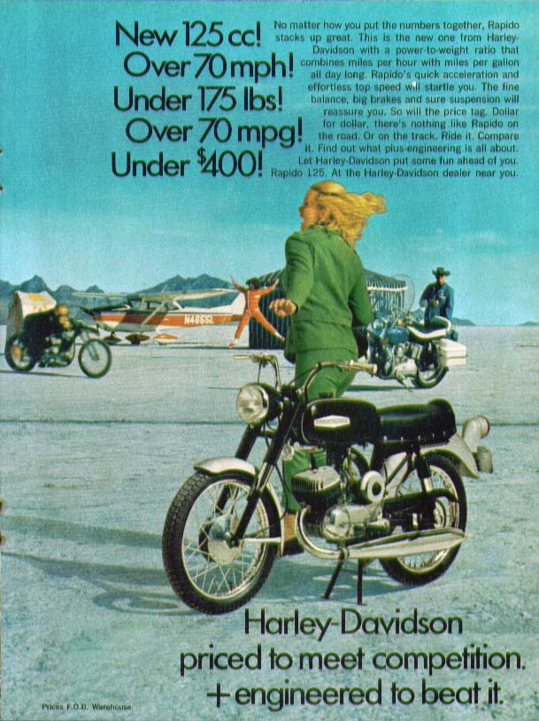 125cc Over 70mph Under 175 lbs Harley-Davidson Rapido motorcycle ad 1968