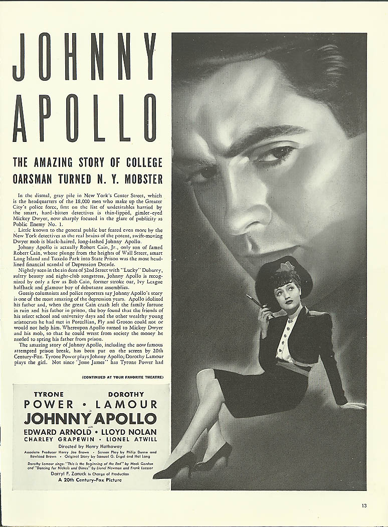 Image for Johnny Apollo movie ad Tyrone Power Dorothy Lamour 1940
