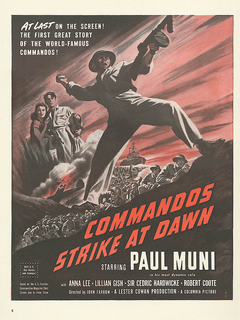 Image for Commandos Strike at Dawn movie ad Paul Muni 1942
