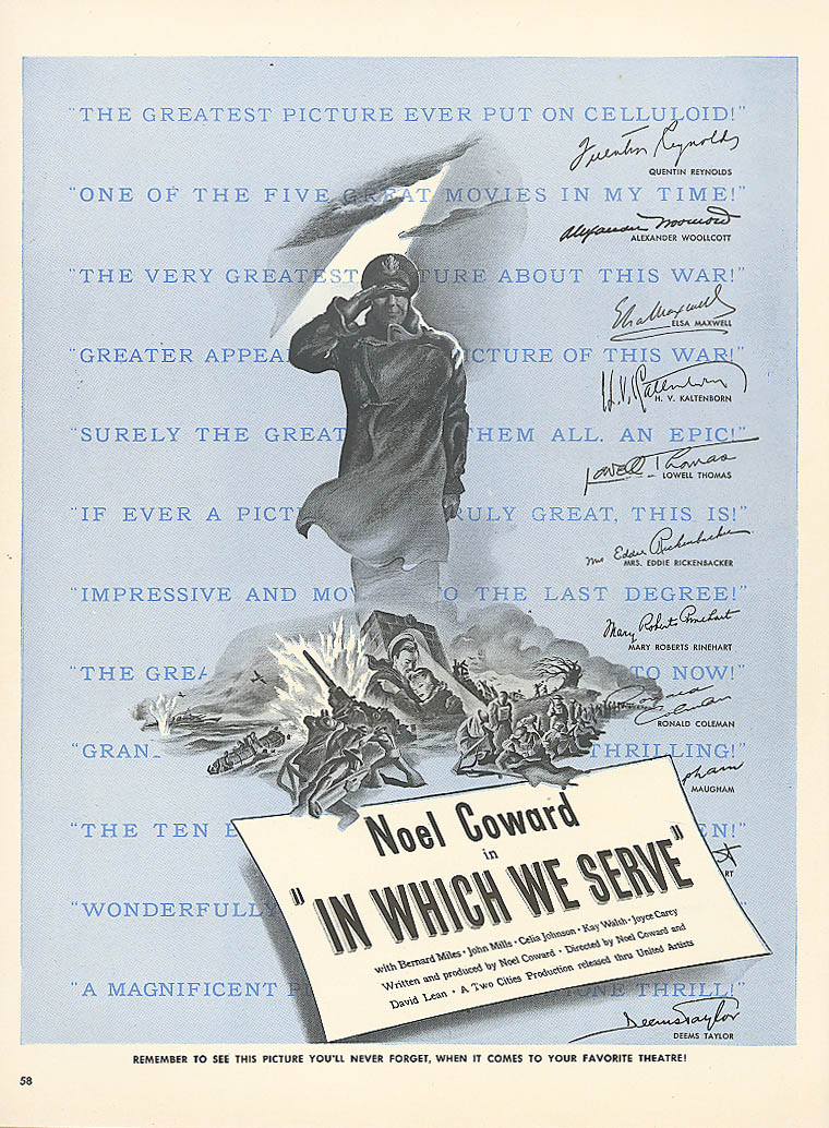 Image for In Which We Serve movie ad Noel Coward David Lean 1943