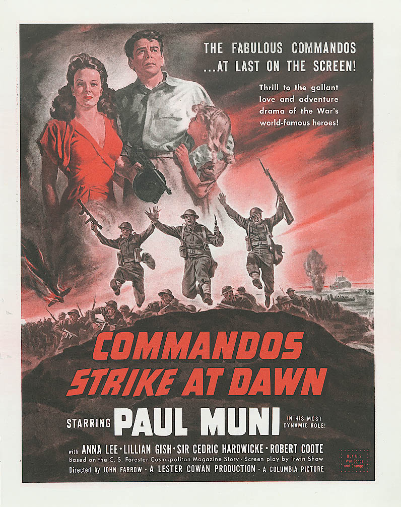 Image for Commandos Strike at Dawn ad Paul Muni 1943