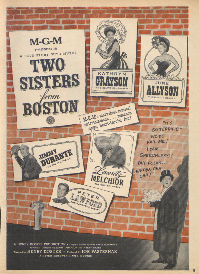 Allyson Grayson Two Sisters from Boston movie ad 1946