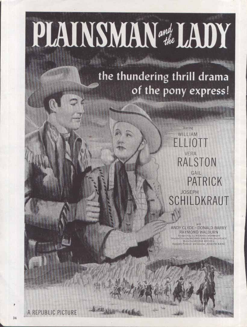 Bill Elliott Vera Ralston Plainsman & The Lady ad 1946