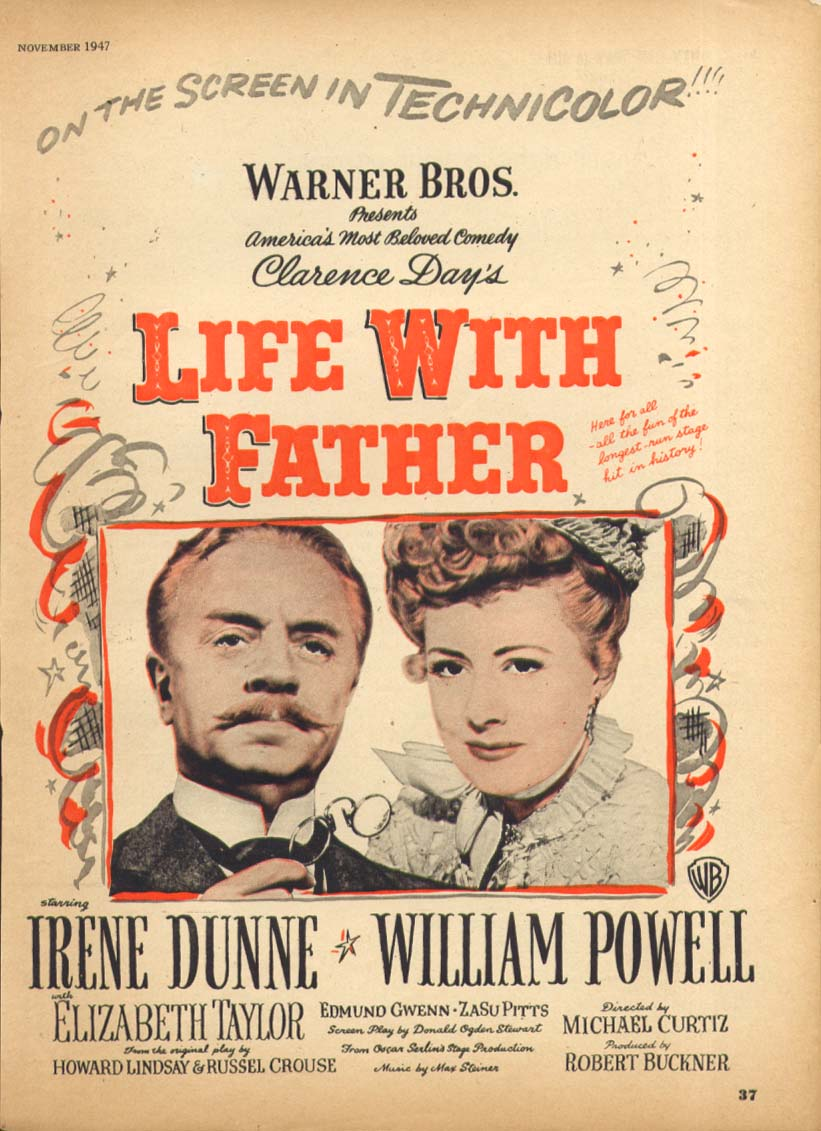 Irene Dunne William Powell Life with Father ad 1947 #1