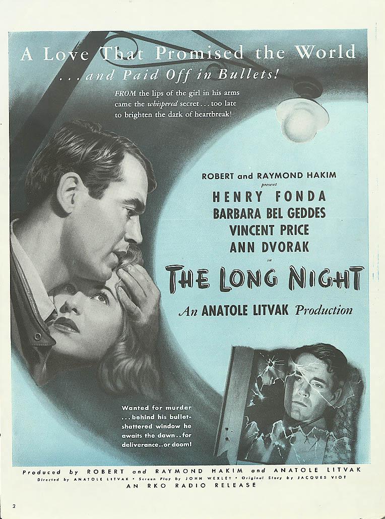 Image for The Long Night ad Henry Fonda Barbara Bel Geddes 1947