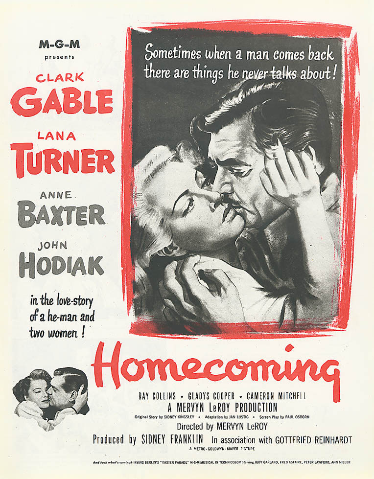 Image for Homecoming movie ad Clark Gable Lana Turner 1948