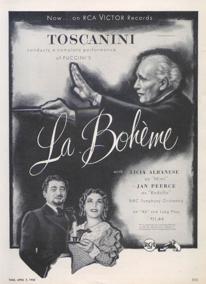 Albanese Jan Peerce La Boheme recording ad 1952