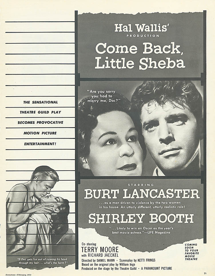 Image for Come Back Little Sheba ad Burt Lancaster Shirley Booth
