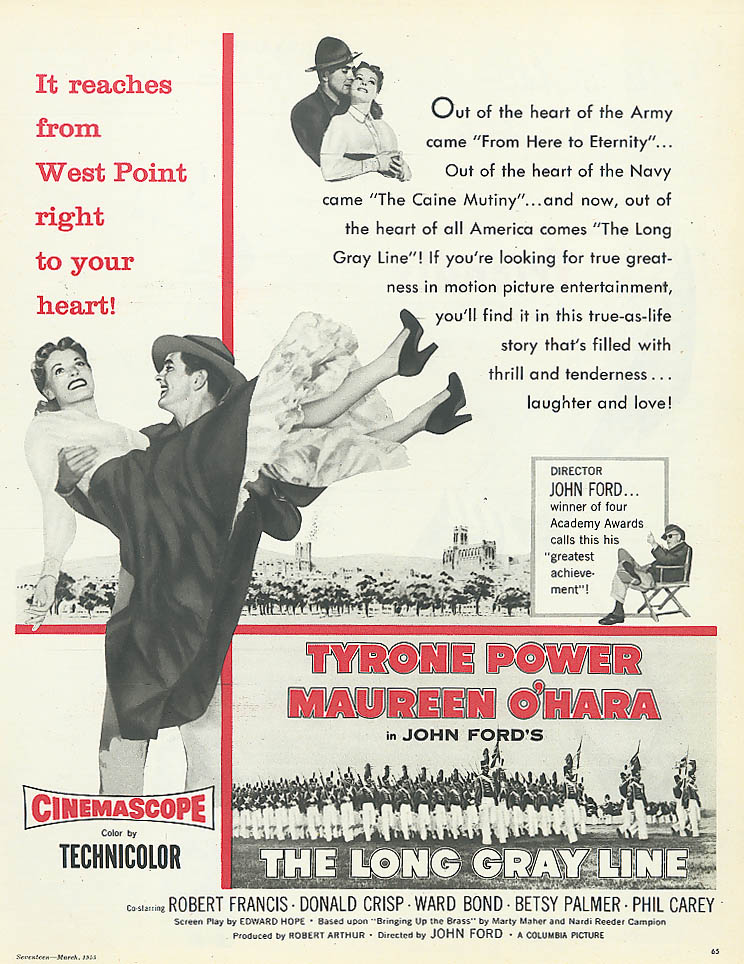 Image for The Long Gray Line ad Tyrone Power Maureen O'Hara 1955