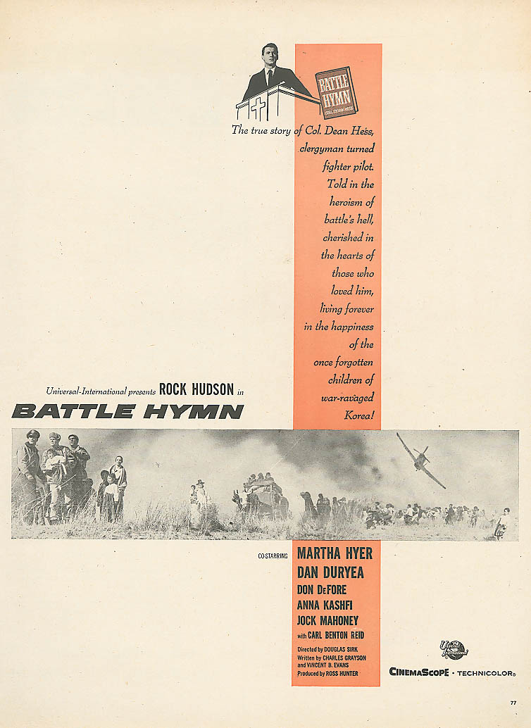 Image for Battle Hymn movie ad Rock Hudson Martha Hyer 1957