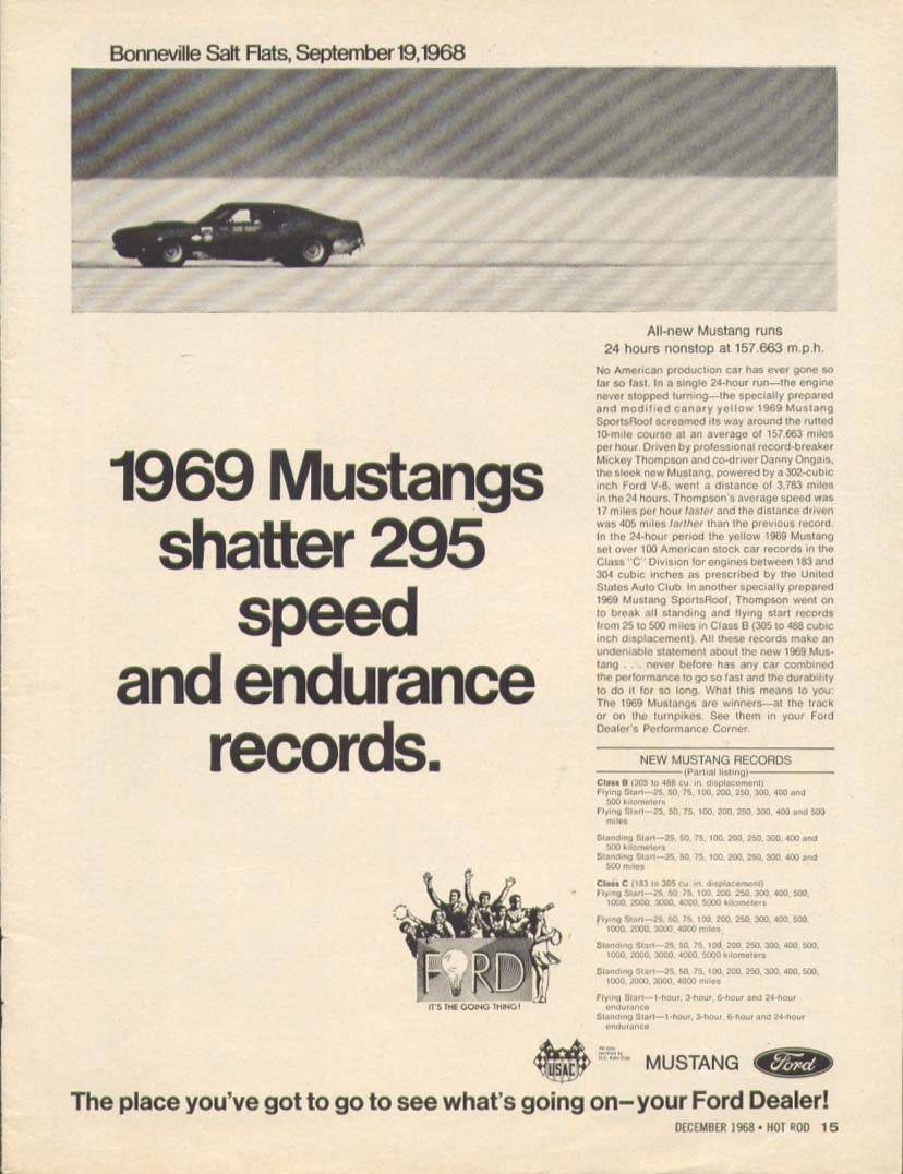 Shatter 295 speed & endurance records 1969 Mustang ad