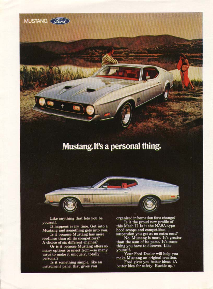 Image for Mustang Mach I. It's a personal thing ad 1971