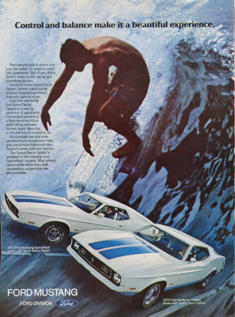 Control & balance make it a Mustang ad 1972 surfer