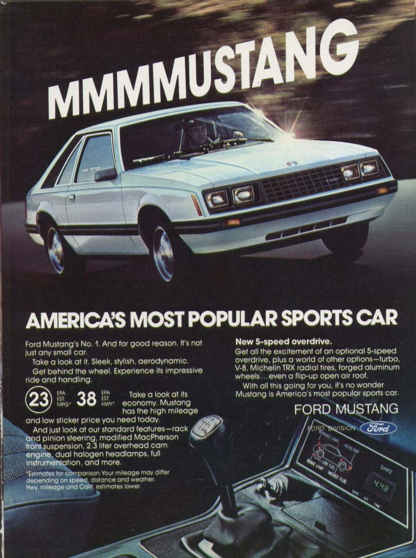America's most popular sports car Mustang ad 1980