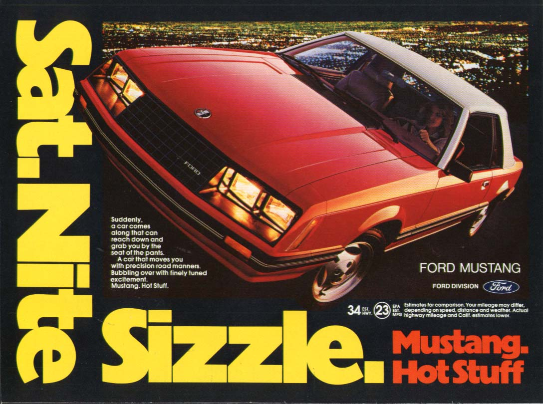 Saturday Nite Sizzle Hot Stuff Mustang ad 1981