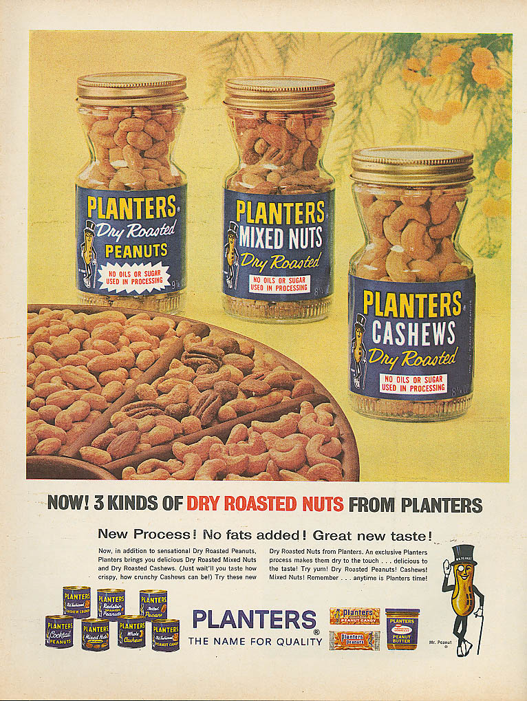 3 kinds Dry Roasted Planters Peanuts ad 1963
