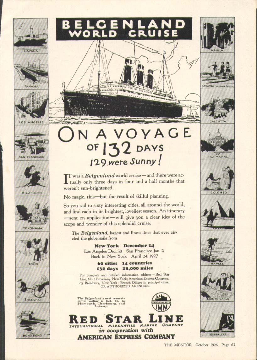 Image for Red Star S S Belgenland World Cruise ad 1926