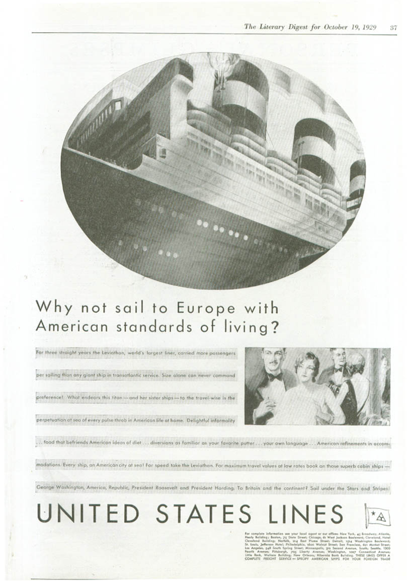 Image for Why not sail to Europe? S S Leviathan ad 1929
