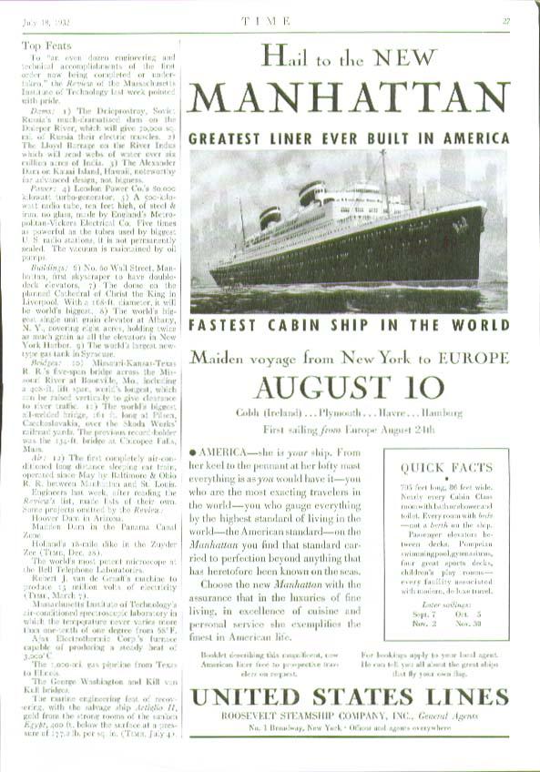 S S Manhattan Maiden Voyage August 10 United States Lines ad 1932