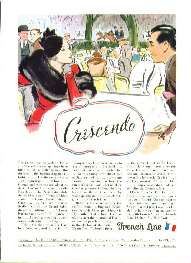 Image for Crescendo French Line ad 1932 Ile de France Paris Champlain De Grasse Rochambeau