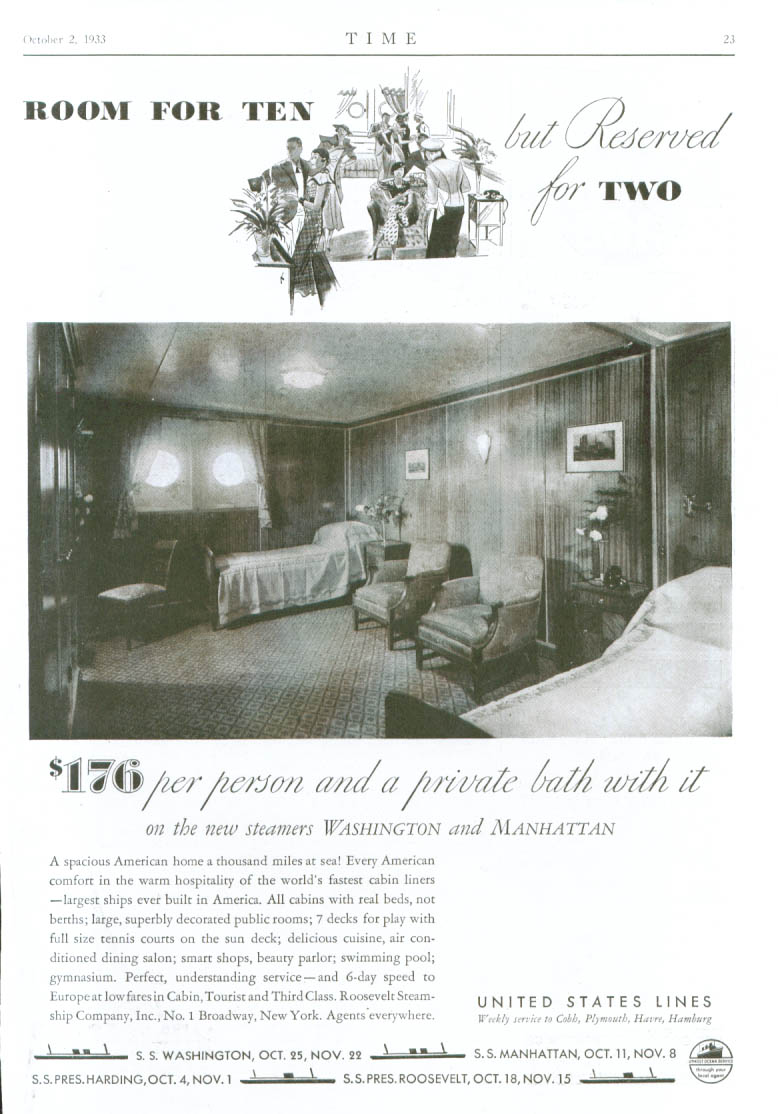Image for Room for 10 Reserved for 2 United States Lines ad 1930