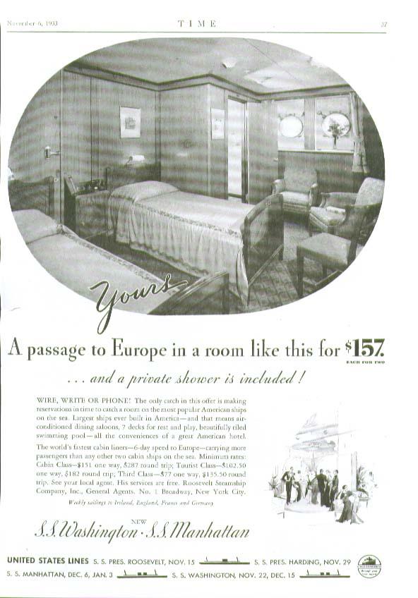 Image for Passage to Europe S S Washington & Manhattan United States Lines ad 1933