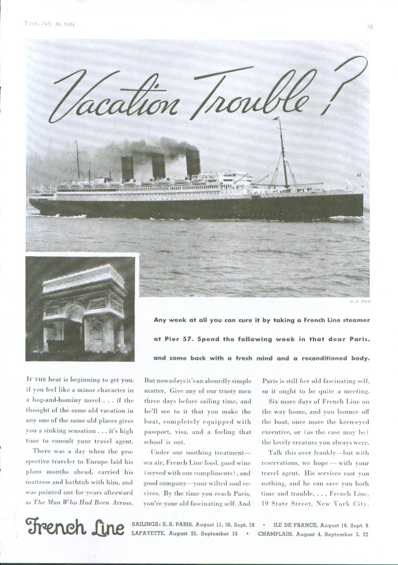 Vacation trouble? French Line S S paris ad 1934