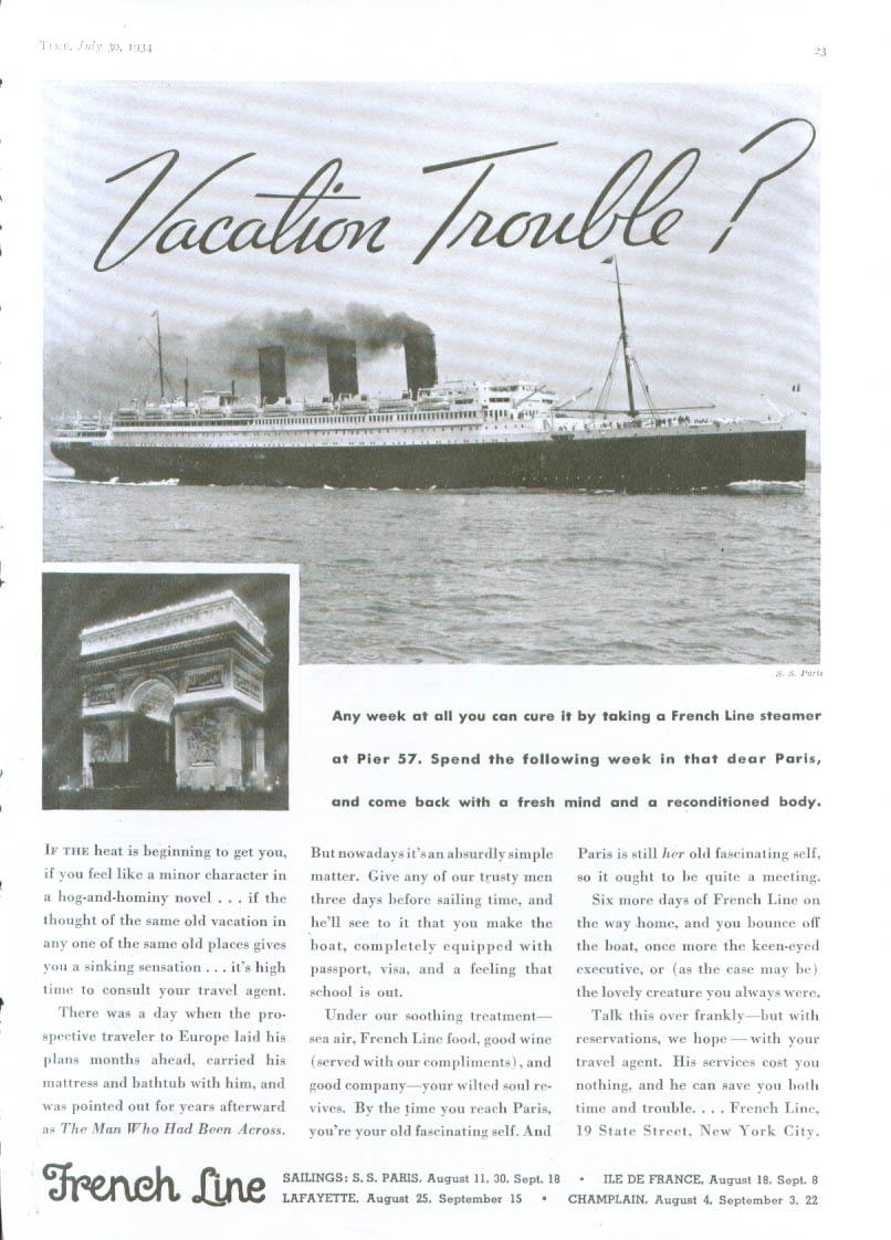 Image for Vacation Tourble? French Line S S Paris ad 1934