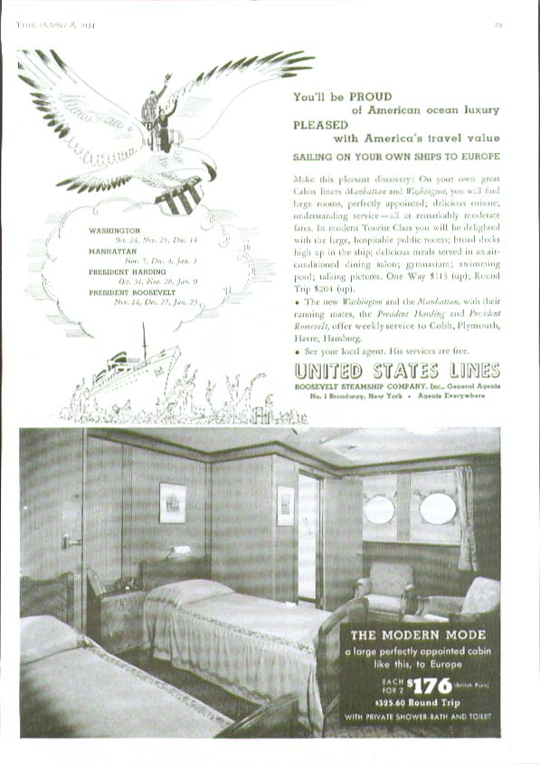 Image for Proud & Pleased to Europe United States Lines ad 1934