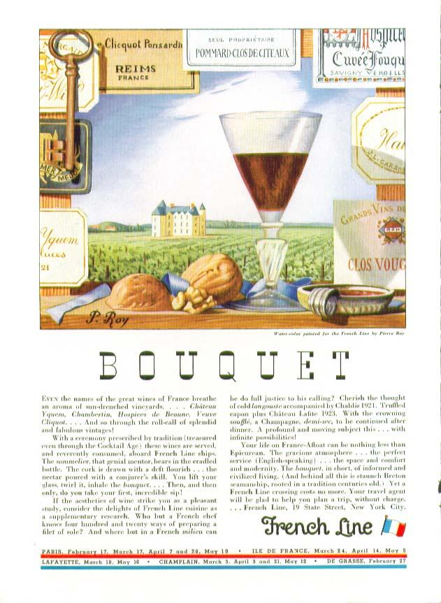 Image for Bouquet by Pierre Roy French Line ad 1934 Ile de France Paris Lafayette etc