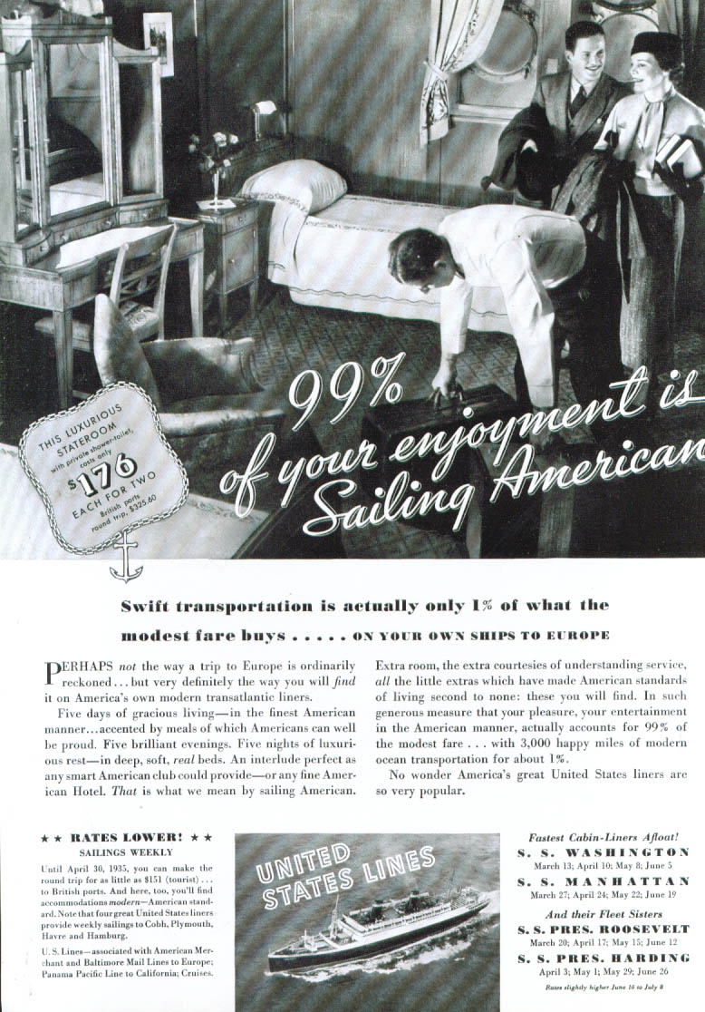 99% of your enjoyment United States Lines ad 1935