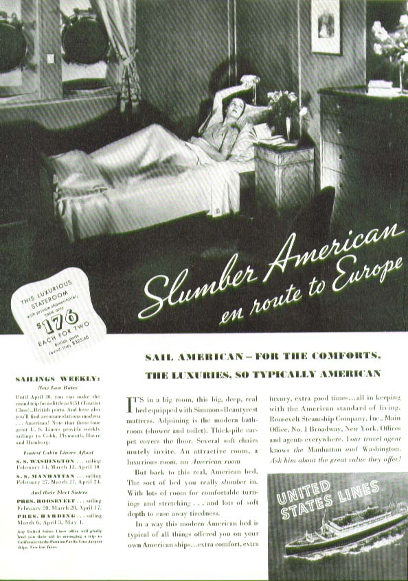 Image for Slumber American en route to Europe United States Lines ad 1935