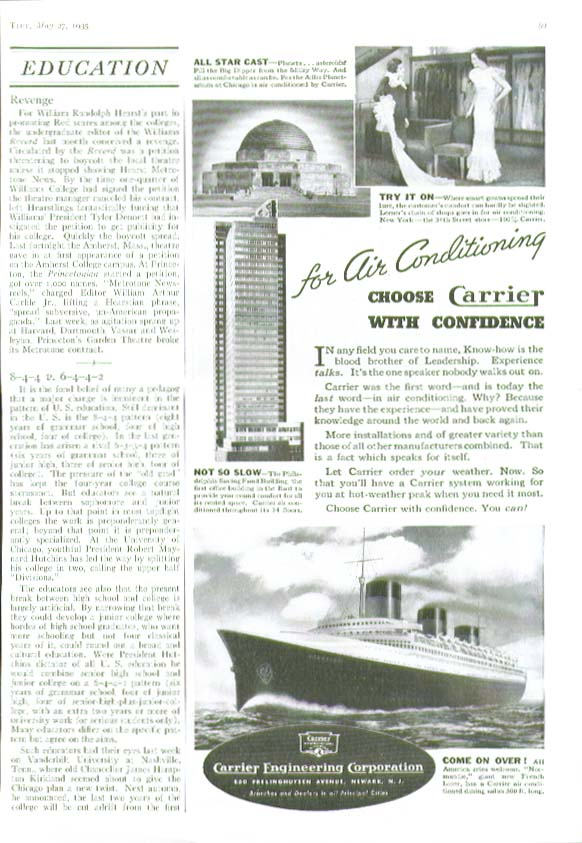 French Line S S Normandie for Carrier Air Conditioning ad 1935