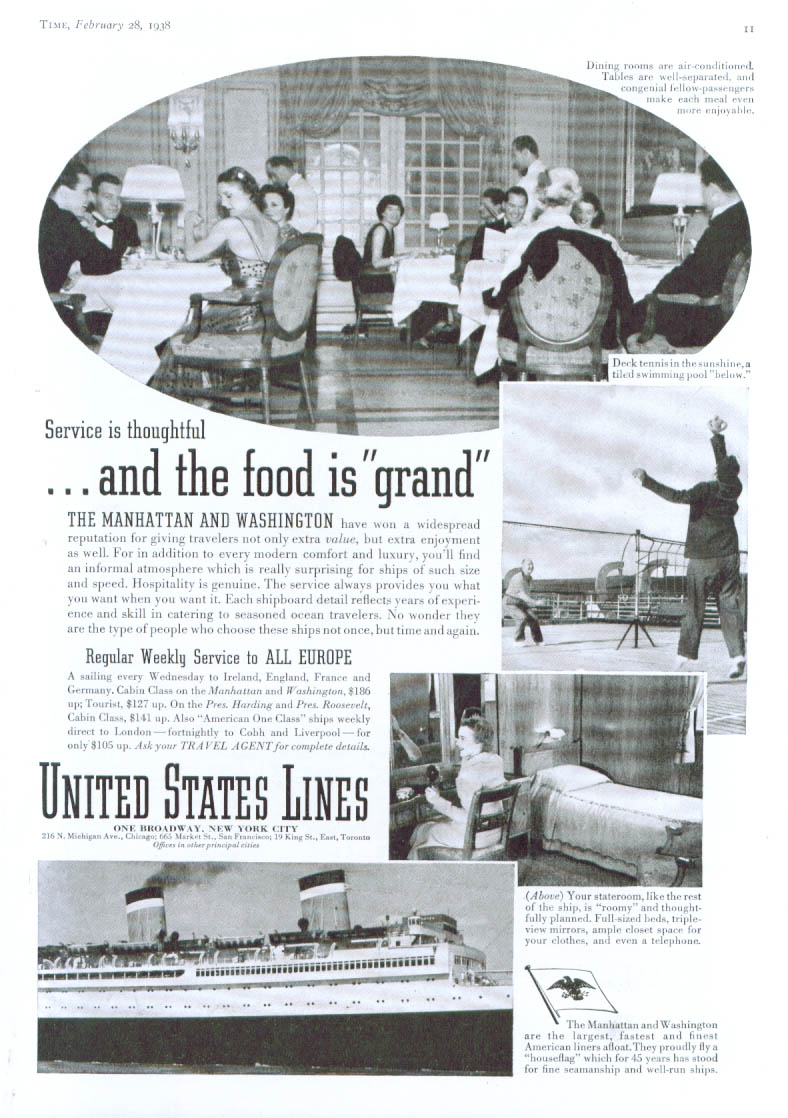 And the food is grand United States Lines ad 1938