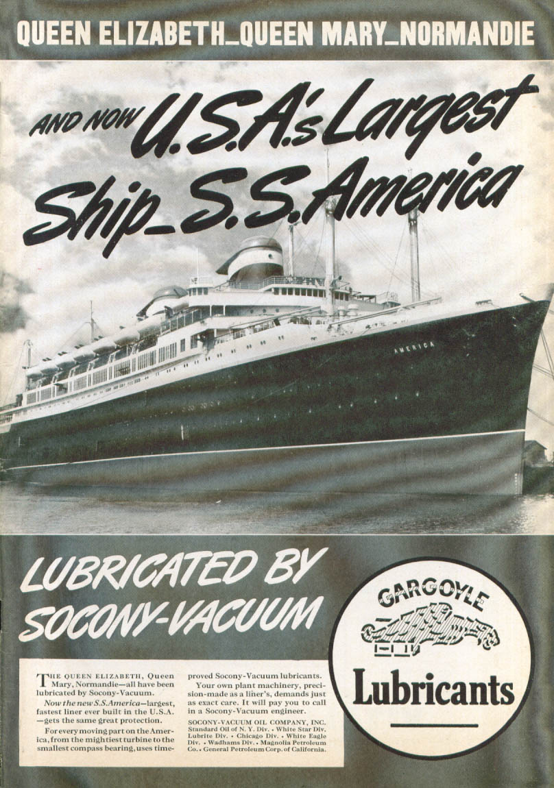 Image for USA's largest ship S S America Socony-Vacuum ad 1940
