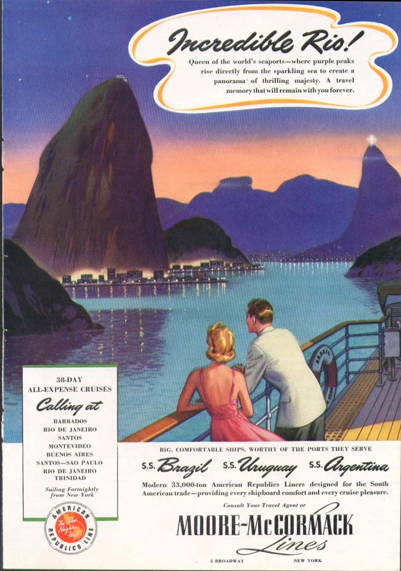 Incredible Rio! Moore-McCormack Lines ad 1941