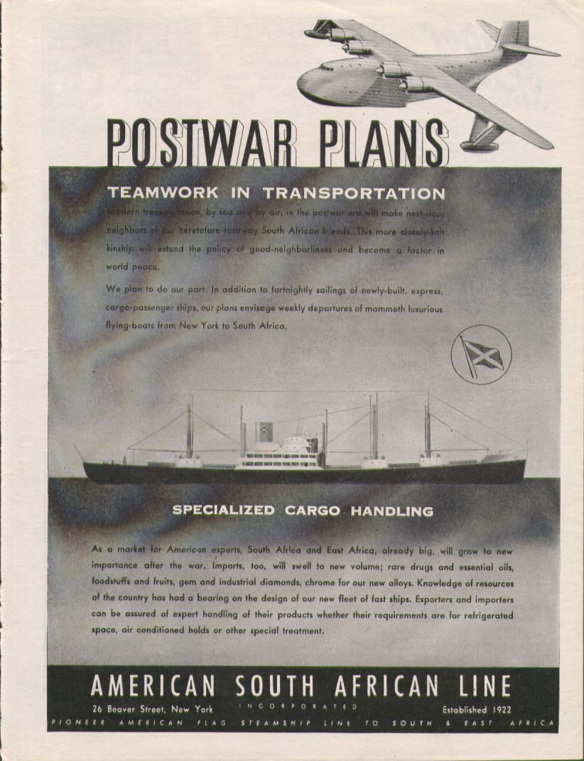 Image for Postwar Plans American South African Line ad 1945
