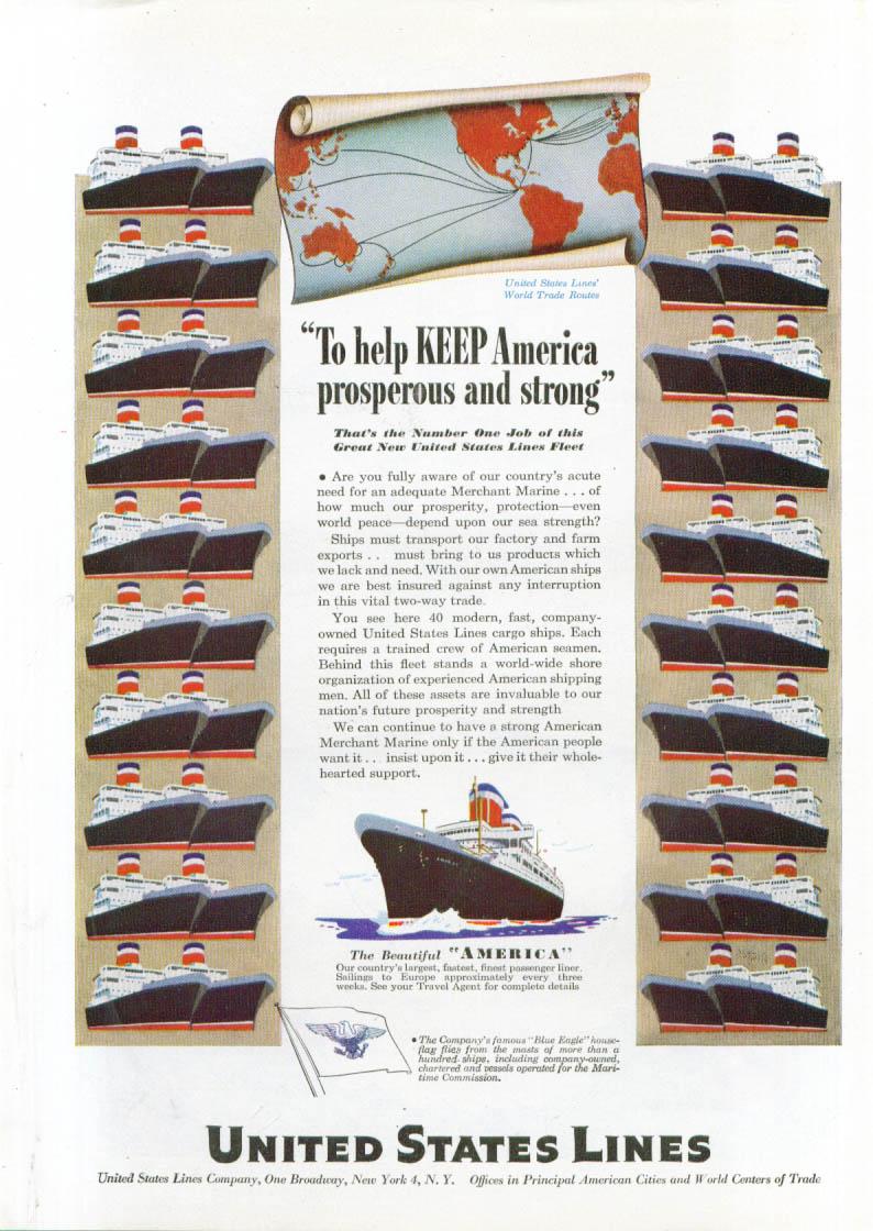 Keep America prosperous United States Lines ad 1947