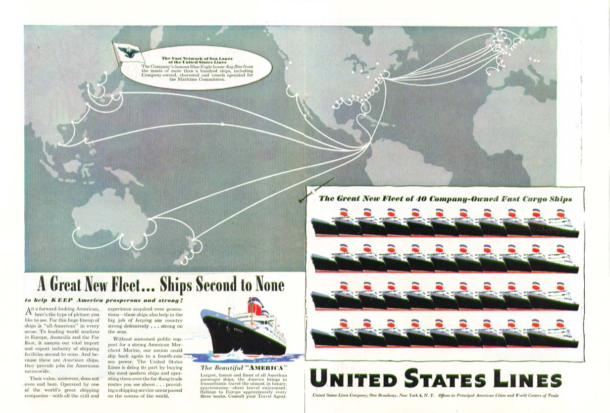 A Great New Fleet . . Ships Second to None United States Lines ad 1947