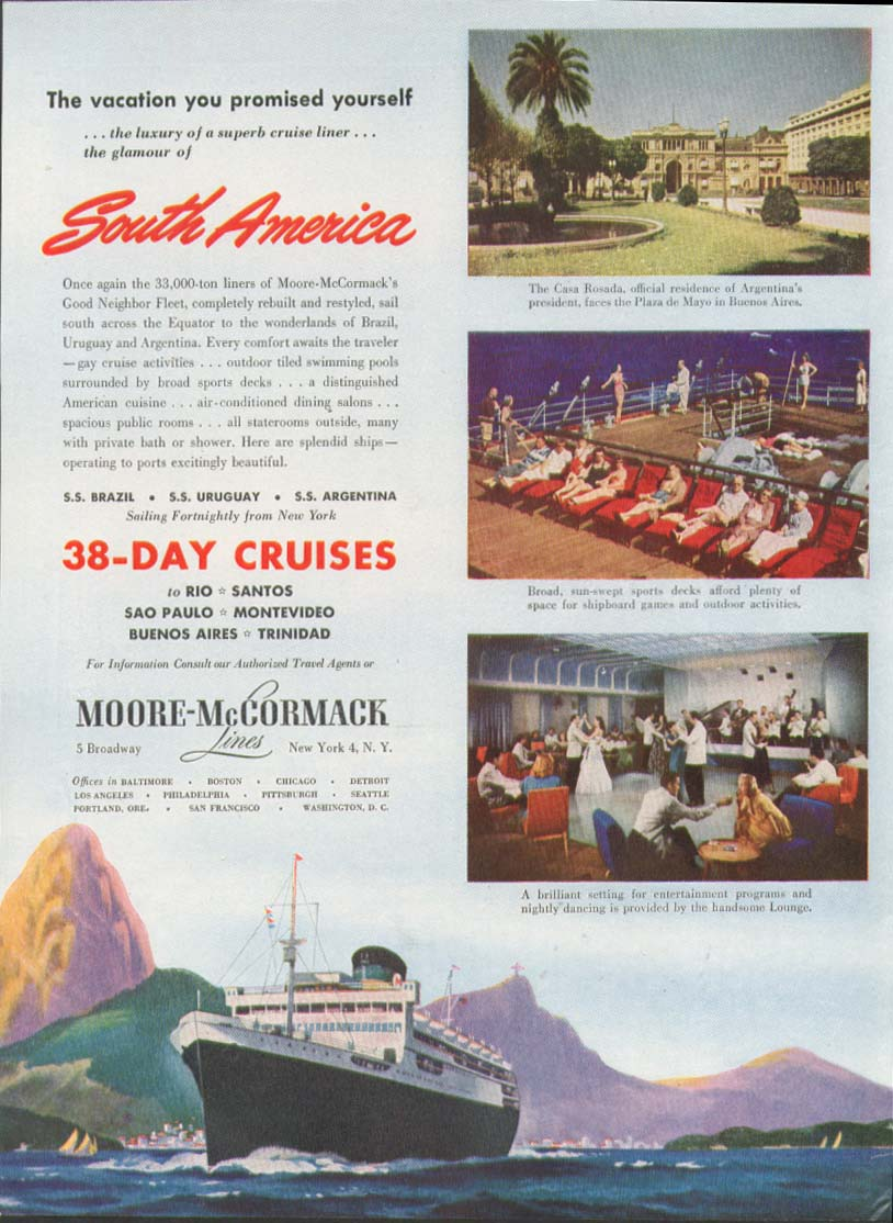 Image for South America 38-Day Cruises Moore-McCormack ad 1948