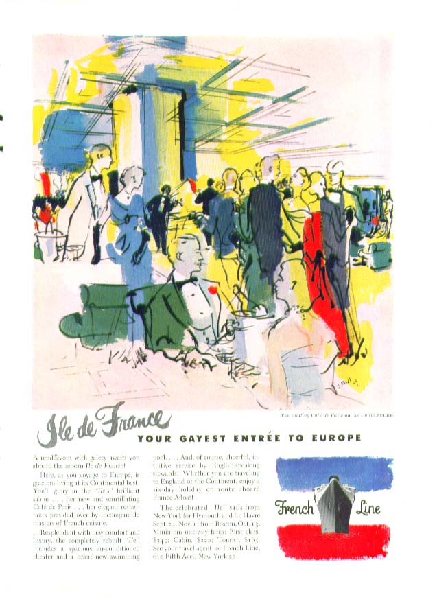 Image for S S Ile de France Your gayest entrée to Europe French Line ad  1949