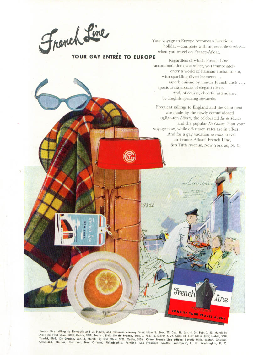 Image for French Line Gay Entre to Europe luggage ad 1951