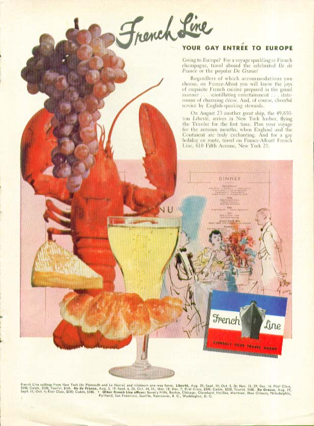 Image for French Line - Your Gay Entre to Europe ad 1950 Ile de France De Grasse