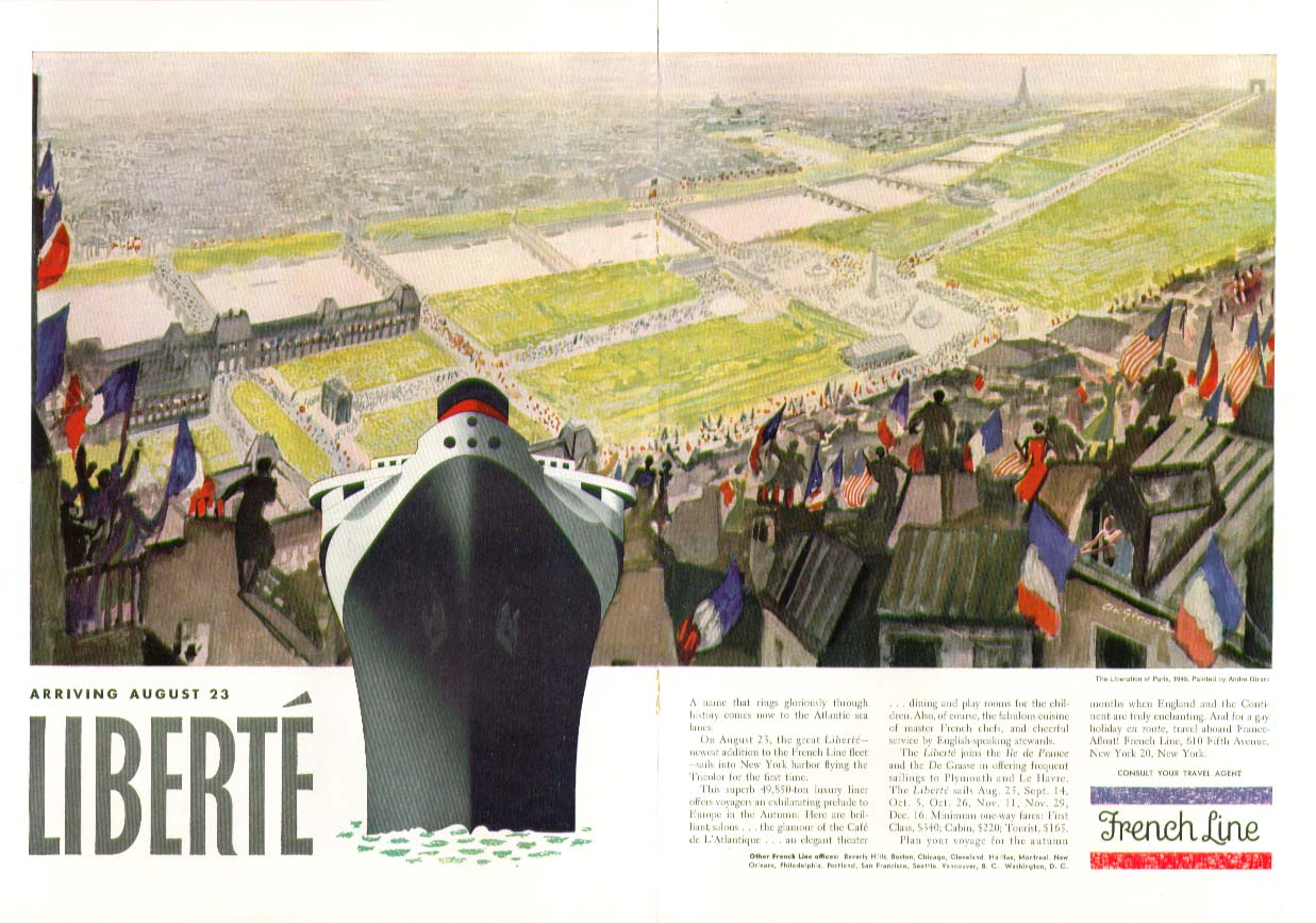 Arriving August 23 . . . S S Liberte French Line ad 1950 New Yorker magazine