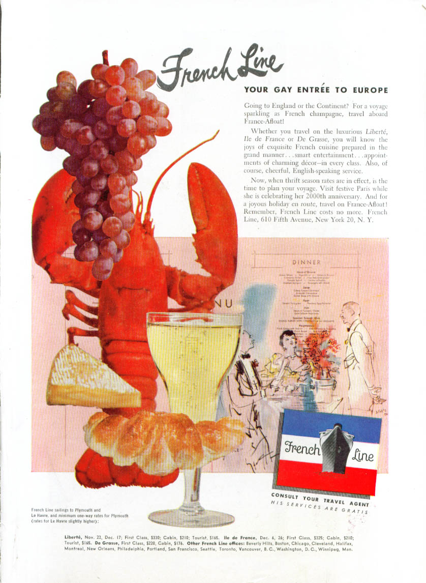 Image for French Line Gay entre to Europe lobster ad 1951