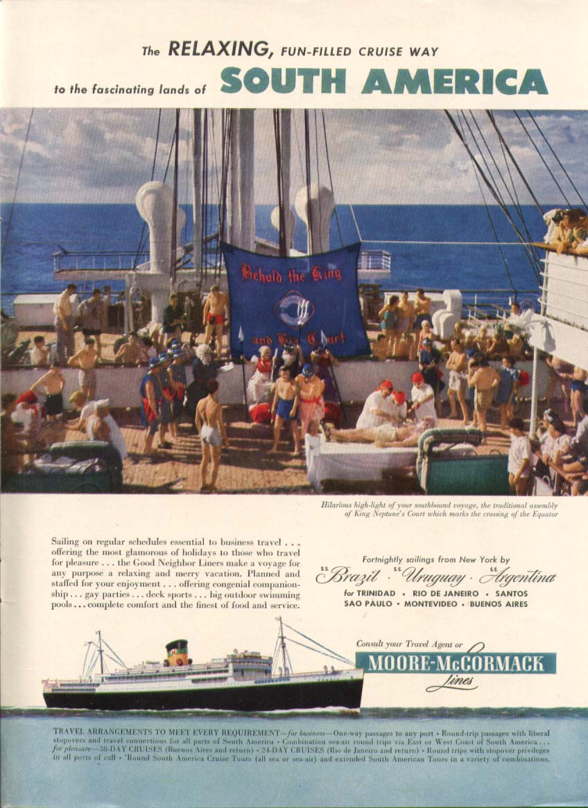 Image for Relaxing Cruise South America Moore-McCormack ad 1951