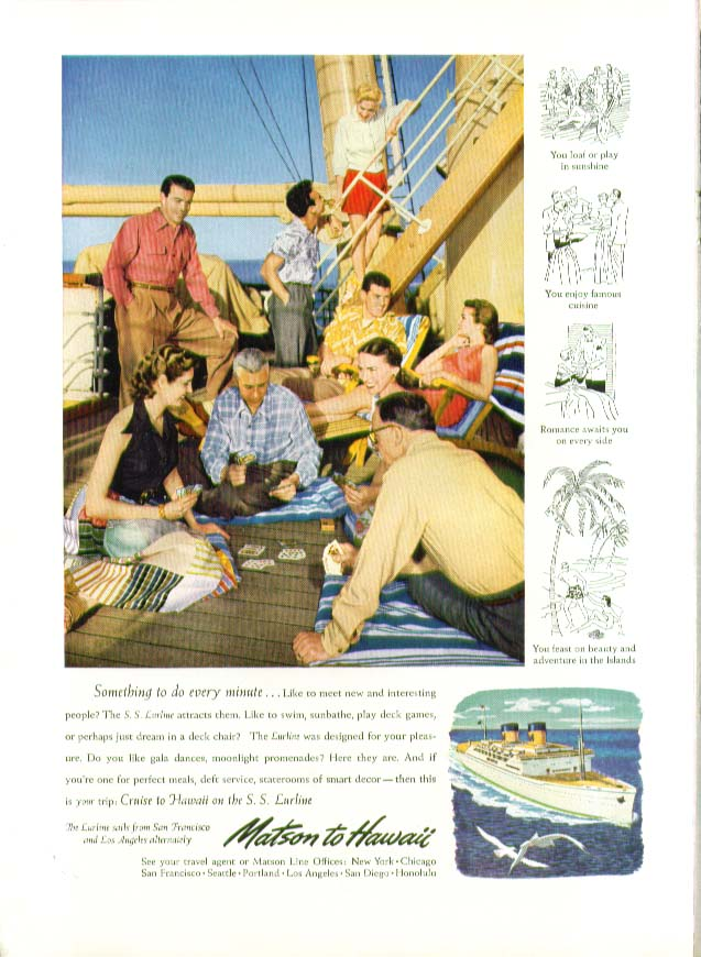 Image for Something to do every minute S S Lurline Matson Lines ad 1951
