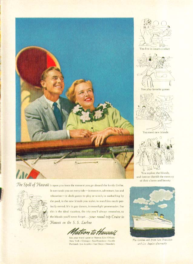 Image for The Spell of Hawaii is upon you S S Lurline Matson Lines ad 1951