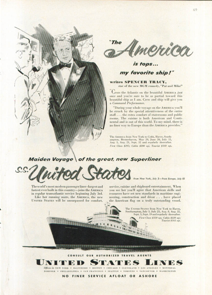 Image for Spencer Tracy S S America & United States ad 1952