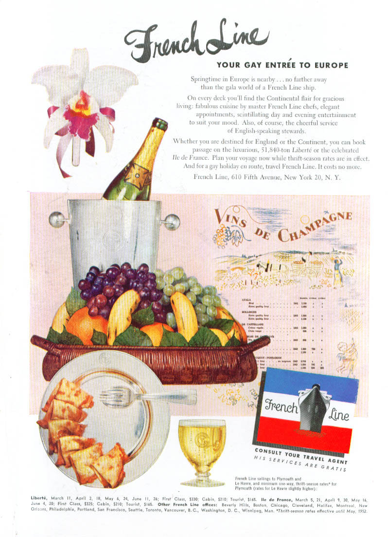 Image for French Line Gay Entre to Europe Champagne ad 1952